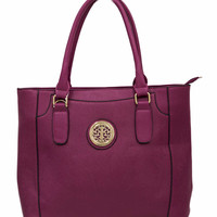 Fuchsia Tote Bag with Gold Detailing
