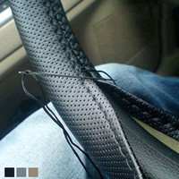 High Quality Car-Styling Auto Leather DIY 35-36cm Car Steering Wheel Covers With Needles And Thread Interior Accessories