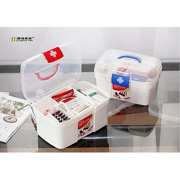 1PC First Aid Clear Container Bin Family Emergency Kit Storage Box Detachable Tray Family Medicine Medical storage Box OK 0218