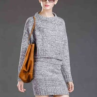 Gray Long Sleeve Knitted and Mini Skirt Set