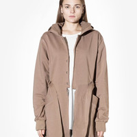 Desert Sand Hooded French Terry Trench in Burnt Khaki: WMNS
