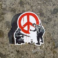 Banksy Vinyl Sticker soliders painting hippie peace sign high resolution print on vinyl and precision cut