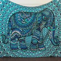 Blue Tribal Elephant Boho Bohemian Bedspread Beach Blanket Wall Tapestry