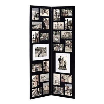 Decorative Black Wood Folding Floor-Standing Collage Picture Photo Frame Hinged 26 Openings 4x6 5x7