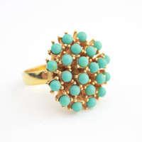 Blue Cabochon Starburst Ring / Vintage Adjustable Ring