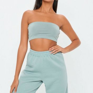 Missguided - Green Basic Bandeau Top