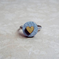 Wooden Tiny Gold Heart Silver and Gold Ring / Adjustable Ring / Statement Ring / Novelty ring