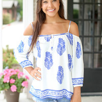 Here to Impress Top - Ivory and Blue