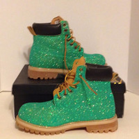 Baby Phat Scout Boots Custom Glitter Green size 8