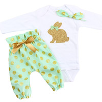 Girls Easter Bunny High Waisted Pants Outfit with Gold Bunny on Bodysuit, Mint Gold Polka Dot Outfit with Easter Bunny and knotted headband