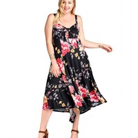 Plus Size Floral High Low Maxi Dress with Peek-a-Boo Neckline and Self-Tie Bow Detail Made in USA