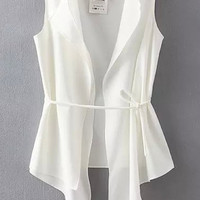 White Sleeveless Asymmetrical Wrap Vest