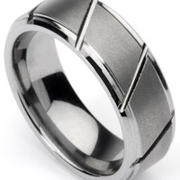 Men's Tungsten Ring/ Wedding Band, Slatted Design, Sizes 7 - 12 by Men's Collections (rg3)