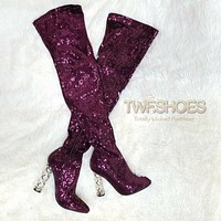 "Chic Reba Plum Purple Sequin 4"" High Heel Thigh Boots Size 6.5-11"