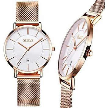 Women's Steel Mesh Watch, Ultra Thin Watch for Ladies, Date Watch