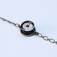 Compass level bracelet with brass chain