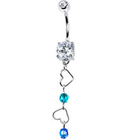 Personalized Couples Birthstone Dangling Heart Belly Ring MADE WITH SWAROVSKI ELEMENTS | Body Candy Body Jewelry