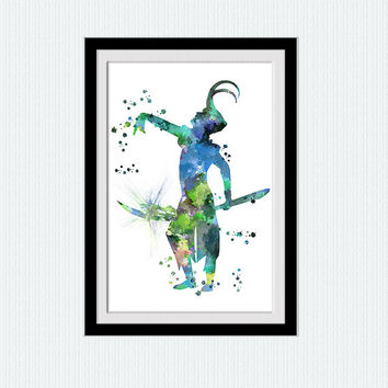 Loki watercolor art poster Marvel print Avengers poster Loki print Home decoration Kids room wall art Super hero decor Marvel wall art W538