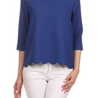 Gliks - Everly Clothing Scallop Top in Royal Blue