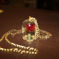 Beauty Beast Enchanted Rose Dome Charm Necklace