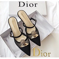 DIOR spring and summer new net yarn Baotou slippers shoes