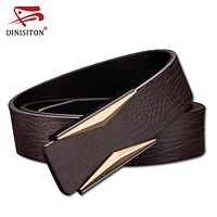 First Layer cowhide genuine leather belts for men Strap Smooth buckle jeans Casual designer brand male belt