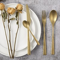 Retro Cutlery Dinner Sets Old Tableware Stainless Steel Gold