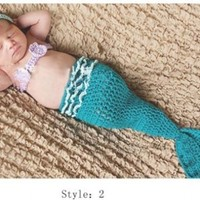 Cute Crochet Knitted Baby Hats Girl Boy Diaper Cover Set Photo Prop:Amazon:Baby