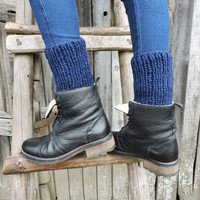 FREE SHIPPING Blue cuffs Hand knitted cuffs Boot toppers Navy leg warmers Chunky cuffs Boot cuffs Dark blue boot socks Boot liners Accessory
