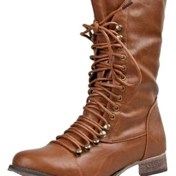 Breckelle's GEORGIA-84 Women Military Style Lace Up Mid Calf Combat Fighting Boot ZOOSHOO