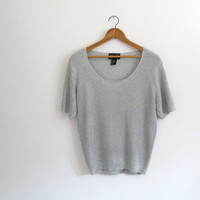 1980s vintage silver metallic blouse - short sleeve sweater - slouchy loose fit - small / medium