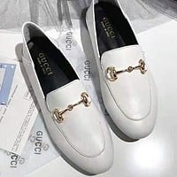 GUCCI Fashion New Solid Color Leisure Lazy Shoes White