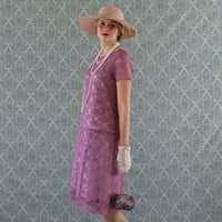 Flapper dress with purple lace, short sleeves, Great Gatsby dress, Downton Abbey dress, Roaring 20s dress, 1920s flapper dress