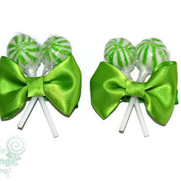 Green Lollipop Hair Clips, Candy Hair Clip, Lollipop, Candy, Wedding, Flower girl Accessory, Bridesmaid, Bride, Lollipop Wedding