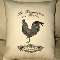 French Rooster Shabby Chic Pillow French by frenchcountrydesigns