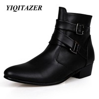 YIQITAZER 2017 New Fashion Ankle Motorcycle Boots Men Cowboy,Pointed Toe PU Shoes Man Military boots Black White