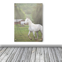 Horse wall tapestry, horse photography, white horse, wall hanging, rustic wall art, rustic print, rustic tapestry, dorm decor, apartment