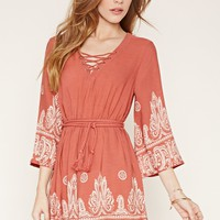Belted Paisley Print Mini Dress