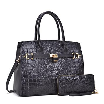 BLACK FAUX ALLIGATOR CROCODILE HANDBAG & WALLET