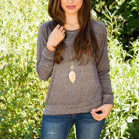 Emmie Long Sleeve Top - Grey