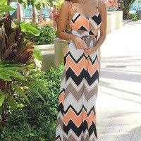 Peach and Black Chevron Sleeveless Maxi Dress