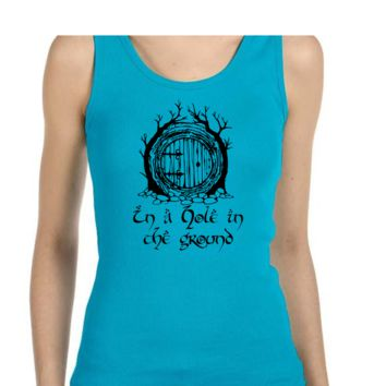 Hobbit Door, Shire Print Ladies or Mens Tank Top, Lord of the Rings, Tolkien, Nerd Girl Tees