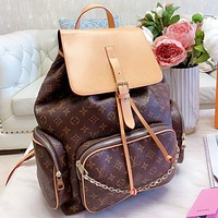 elainse29 LV Fashion New Monogram Print Leather Book Bag Backpack Bag