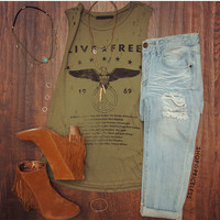 Live Free Distressed Top
