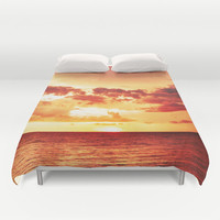 Duvet Cover, Red Beach Sunset, Surf Seascape, Bed Cover, Orange and Yellow Storm Cloud Sky, Tropical Beach Tiki Surf Decor, King/Queen Size