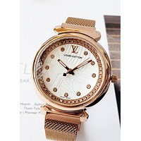 LV tide brand diamond dial women's simple fashion quartz watch white