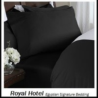 Royal Hotel's Solid Black 300-Thread-Count 3pc Queen Duvet-Cover 100-Percent Egyptian Cotton, Sateen Solid, 100% Cotton