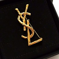 Yves Saint Laurent Women Classic YSL Letter Brooch Accessories Jewelry