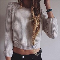 Women Fashion Solid Color Scoop Neck Leaky belly button Long Sleeve Top Sweater Pullover