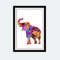 Elephant watercolor print Elephant colorful poster Animal print Safari animal poster Home decoration Kids room art Nursery room decor W580